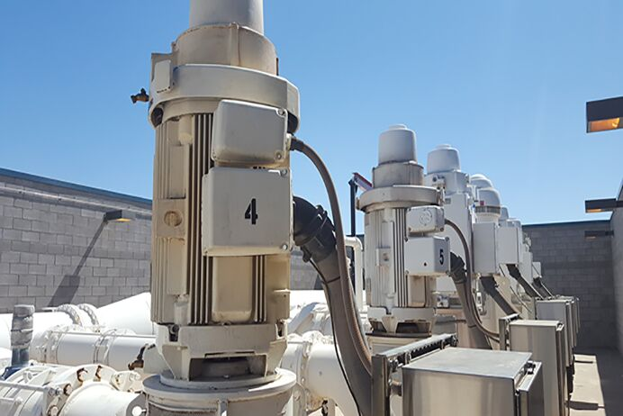 A Vertical Turbine Pump on the roof of Municipality